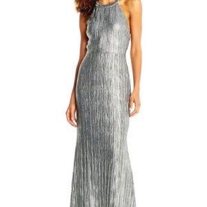 Adrianna Papell Metallic halter dress
